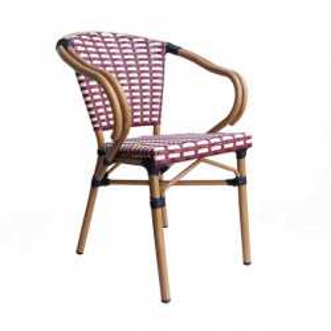 Set 2 scaune dining rosii/bej din poliratan si aluminiu Kora Sit Moebel