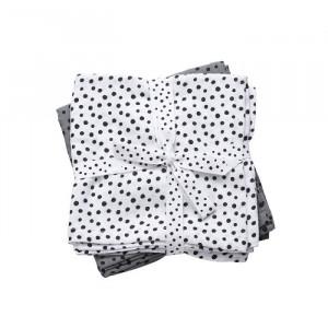 Set 2 scutece gri din bumbac pentru bebelusi 70x70 cm Dots Grey Done by Deer