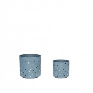 Set 2 suporturi lumanare albastre din portelan Olivia Hubsch