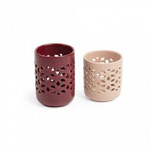 Set 2 suporturi roz pentru luamanari Locust La Forma