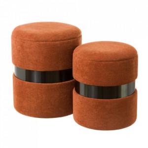 Set 2 tabureti rotunzi maro teracota din tesatura chenille si MDF Pumba Unimasa