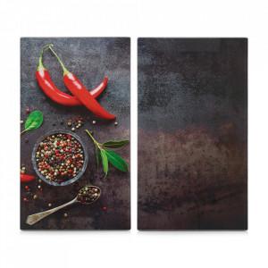Set 2 tocatoare dreptunghiulare multicolore din sticla 30x52 cm Chili Zeller