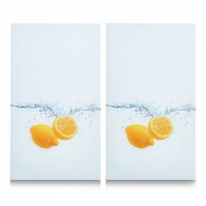 Set 2 tocatoare dreptunghiulare multicolore din sticla 30x52 cm Lemon Splash Zeller