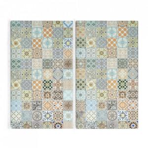 Set 2 tocatoare dreptunghiulare multicolore din sticla 30x52 cm Mosaic Zeller