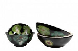 Set 3 boluri rotunde negre din ceramica Hokkaido Versmissen