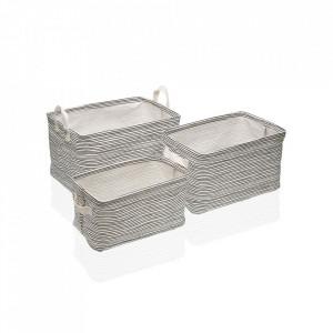 Set 3 cosuri albe/negre din poliester Laundry Basket Stripes Versa Home