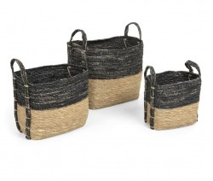Set 3 cosuri gri/maro din frunze de porumb Kuomi La Forma