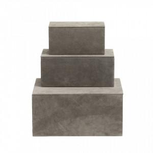 Set 3 cutii cu capac maro din piele si MDF Box Suede Greyish Nordal