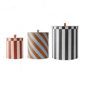 Set 3 cutii cu capac multicolore din carton Ali Round Oyoy
