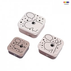 Set 3 cutii cu capac roz din polietilena si polipropilena pentru copii Grey Contour Done by Deer