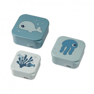 Set 3 cutii pentru pranz albastre din polipropilena Sea Done by Deer