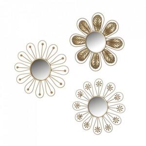 Set 3 decoratiuni cu oglinda aurii din fier pentru perete 25 cm Yulia Unimasa