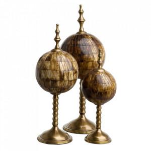 Set 3 decoratiuni maro/aurii din alama si fier Leonardo Eichholtz
