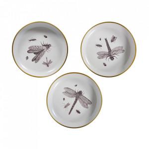 Set 3 decoratiuni pentru perete albe din metal 25 cm Insect Woood