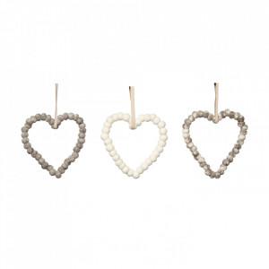 Set 3 decoratiuni suspendabile din lana si fetru Heart Grey White Hubsch