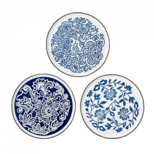 Set 3 farfurii albastre din ceramica Molly Bloomingville