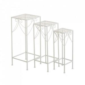 Set 3 masute albe din metal pentru exterior Refined Garden Square Unimasa