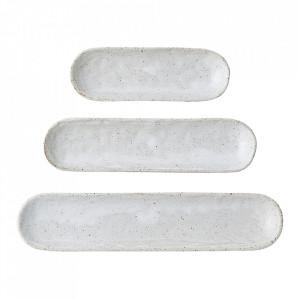 Set 3 platouri albe din ceramica Nature Bloomingville