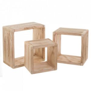 Set 3 rafturi maro din lemn Shelving Modular Big Unimasa