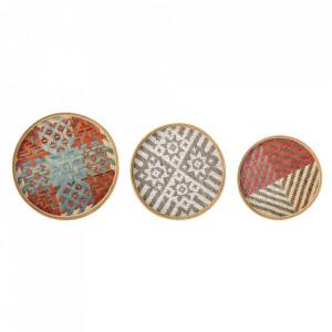 Set 3 tavi decorative multicolore din bambus Rivera Creative Collection