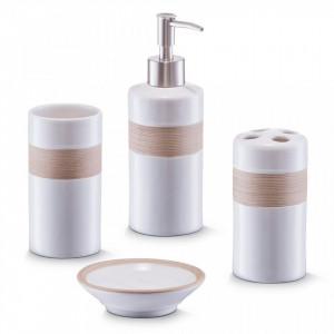 Set 4 accesorii baie din ceramica Bath Access Beige Zeller
