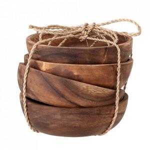 Set 4 boluri maro din lemn de salcam 15 cm Irha Creative Collection