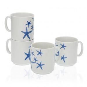 Set 4 cani albe/albastre din portelan 8x10,5 cm Bluesea Mug Versa Home