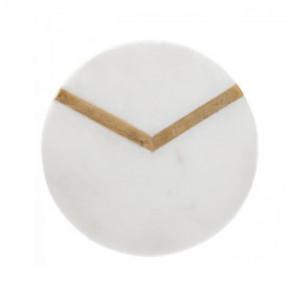 Set 4 coastere albe din marmura si alama Zita LifeStyle Home Collection