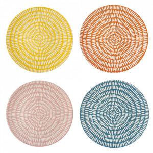 Set 4 farfurii multicolore din portelan 26 cm Seeds Pols Potten