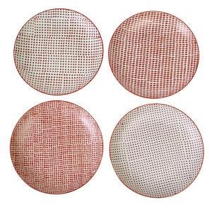 Set 4 farfurii rosii din ceramica 26 cm Red Dotties L Pols Potten