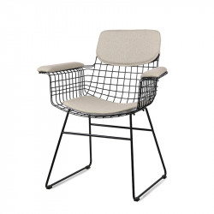 Set 4 perne crem din in pentru sezut si spatar scaun cu manere Sand HK Living