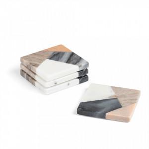 Set 4 protectii multcilore din marmura 10x10 cm Bradney La Forma