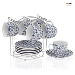 Set 6 cesti cu farfurioare si suport din portelan si metal Coffee Blue Versa Home