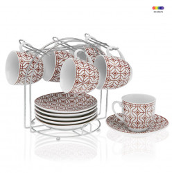 Set 6 cesti cu farfurioare si suport din portelan si metal Tea Red Versa Home