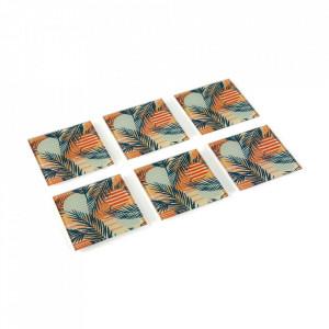 Set 6 coastere multicolore din sticla Saona Glass Versa Home