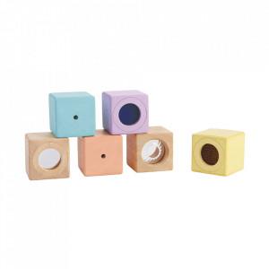Set 6 cuburi multicolore din lemn Sensory Blocks Plan Toys