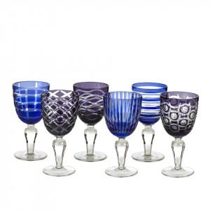 Set 6 pahare albastre din sticla pentru vin Cobalt Mix Pols Potten
