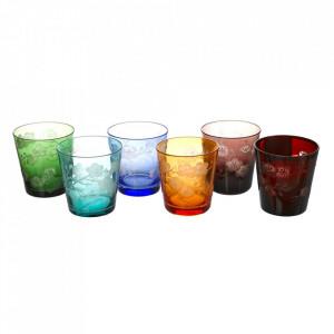 Set 6 pahare multicolore din sticla Blossom Pols Potten
