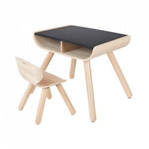 Set birou si scaun maro din lemn Arty Plan Toys