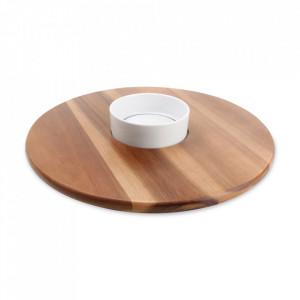 Set bol si platou pentru servire din lemn de susan si portelan Portion Aerts
