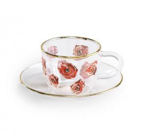Set ceasca si farfurioara din sticla Roses Toiletpaper Seletti
