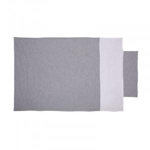 Set lenjerie si protectie gri din bumbac pentru patut Jersey Stripe Quax
