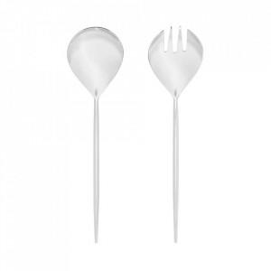 Set lingura si furculita argintie din inox pentru salata Crisps Kave Home