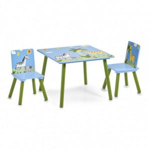 Set masuta si 2 scaune multicolore din MDF Safari Zeller