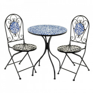Set masuta si 2 scaune pliabile multicolore din ceramica si metal pentru exterior Garden Ocean Unimasa