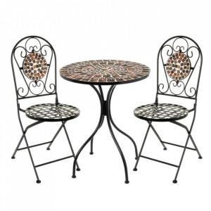 Set masuta si 2 scaune pliabile multicolore din ceramica si metal pentru exterior Garden Terra Unimasa