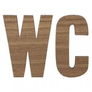 "Set semne din lemn pentru baie ""WC"" maro Bloomingville"