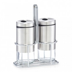 Set solnita si pipernita cu suport din sticla si inox Salt Pepper Shaker Zeller
