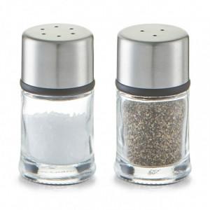 Set solnita si pipernita transparente/argintii din sticla si inox 10 ml Cookin Zeller