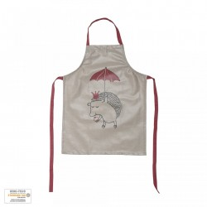Sort bucatarie pentru copii maro/rosu din bumbac Hedgehog Bloomingville